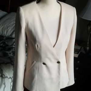 Forever 21 Cream Double Breasted Blazer XS